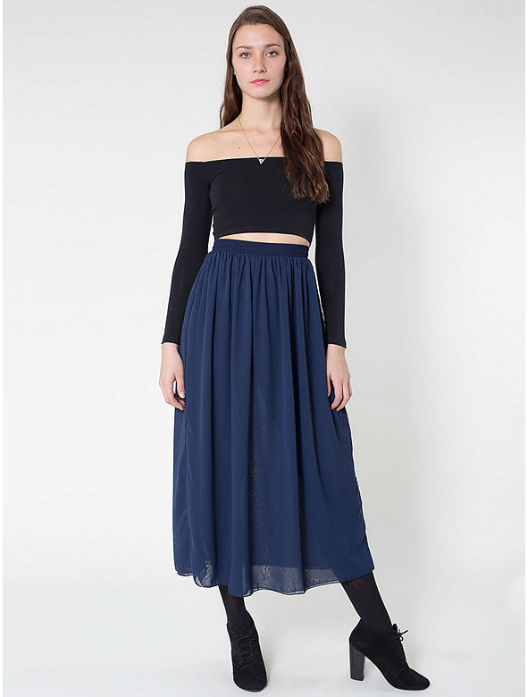 Chiffon Double-Layered Full Length Skirt