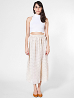 Polka Dot Chiffon Double-Layered Full Length Skirt
