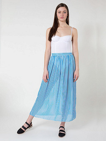 Stripe Chiffon Single-layer Full Length Skirt