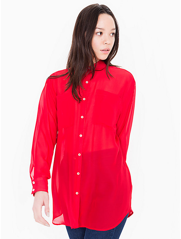 Chiffon Oversized Button-Up