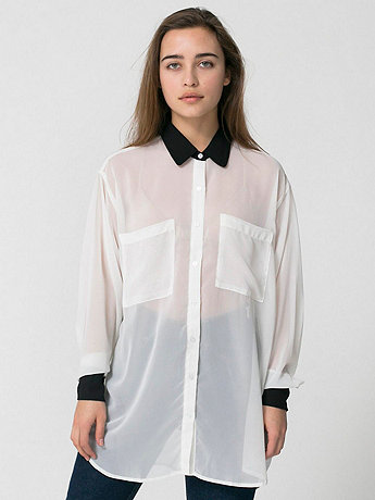 Contrast Collar Chiffon Button-Up