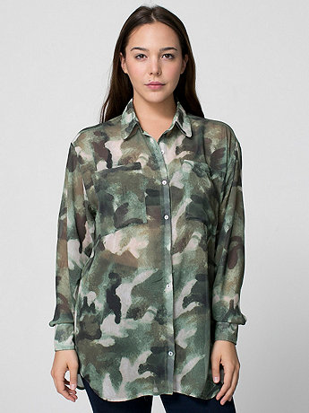Camouflage Chiffon Oversized Button-Up
