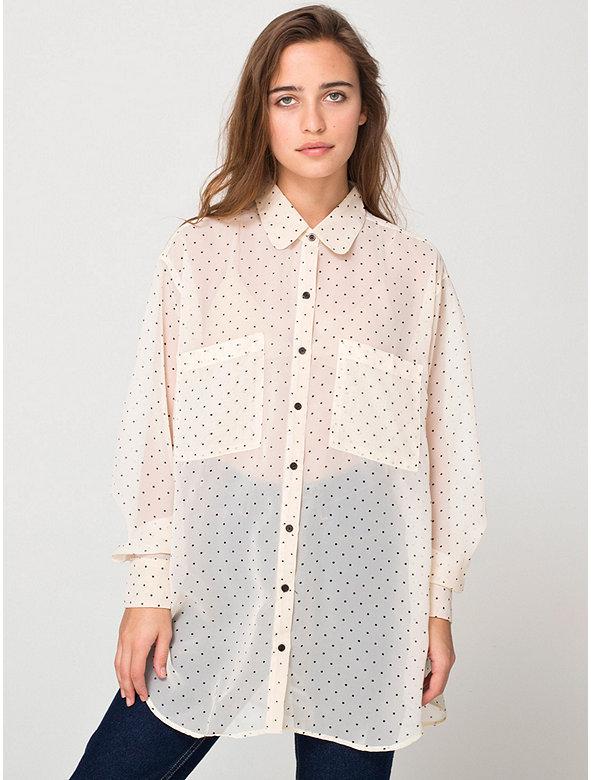 Polka Dot Chiffon Oversized Button-Up