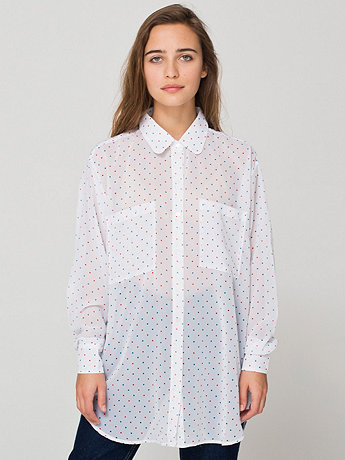 Polka Dot Chiffon Oversized Button-Up