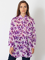 Floral Chiffon Oversized Button-Up