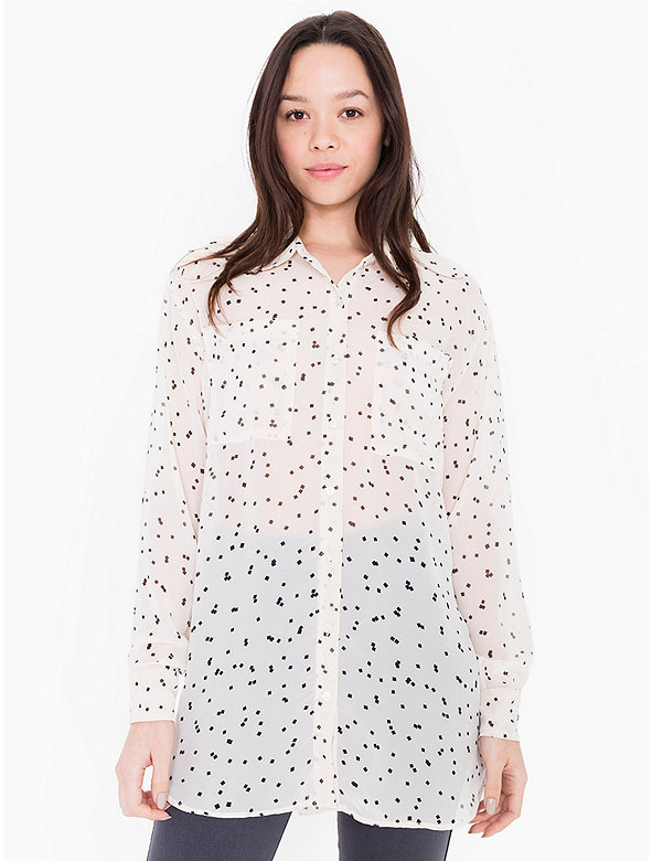 Printed Chiffon Oversized Button-Up