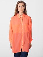 Neon Chiffon Oversized Button-Up