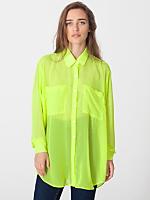 Neon Chiffon Oversized Button-Up