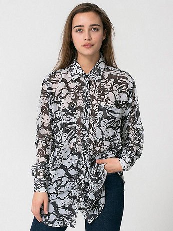 Illustrated Chiffon Oversized Button-Up