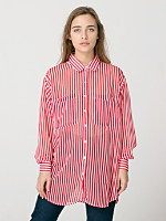 Stripe Chiffon Oversized Button-Up