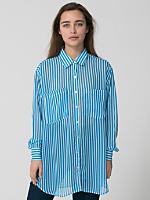 Stripe Chiffon Oversized Button-Up