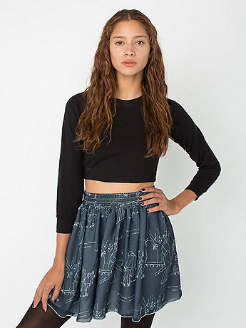 Illustrated Chiffon Double-Layered Shirred Waist Skirt