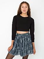 Illustrated Chiffon Double-Layered Shirred Waist Skirt