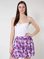 Floral Chiffon Double-Layered Shirred Waist Skirt