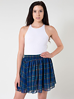 Plaid Chiffon Double-Layered Shirred Waist Skirt