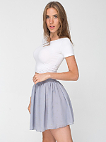 Polka Dot Chiffon Double-Layered Shirred Waist Skirt