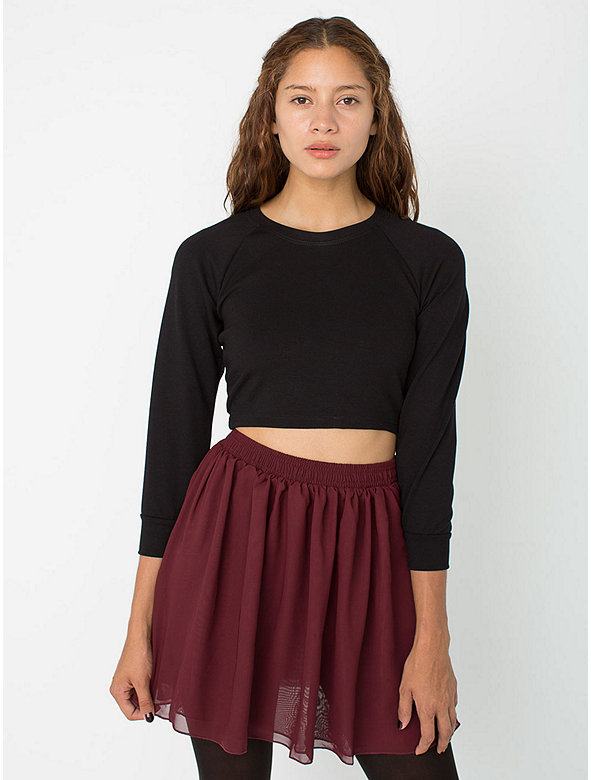 Chiffon Double-Layered Shirred Waist Skirt