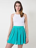 Chiffon Double-Layered Shirred Waist Skirt