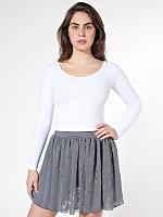 Stripe Chiffon Double-Layered Shirred Waist Skirt