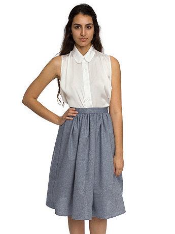 Chambray Mid-Length Skirt