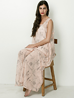 Illustrated Chiffon A-Line Maxi Dress