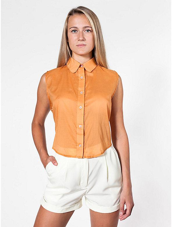 Sleeveless Lawn Crop Button-Up