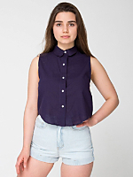 Sleeveless Lawn Crop Button-Up