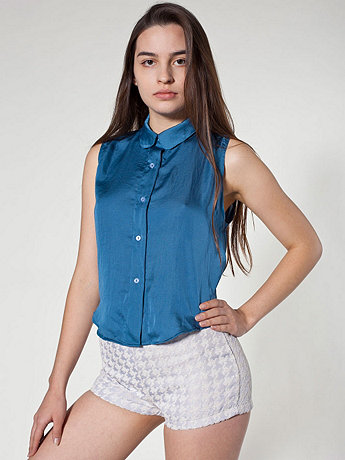 Sateen Sleeveless Crop Button-Up