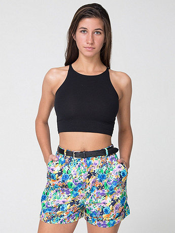 Floral Print Pleated Cuff Short