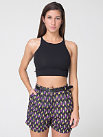 Poly Printed Pleated Cuff Short