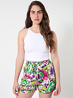 Printed Rayon Pleated Cuff Short