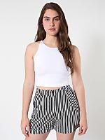Stripe Pleated Cuff Short