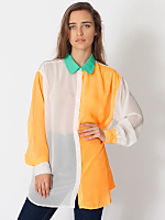 Color Block Oversized Button-Up