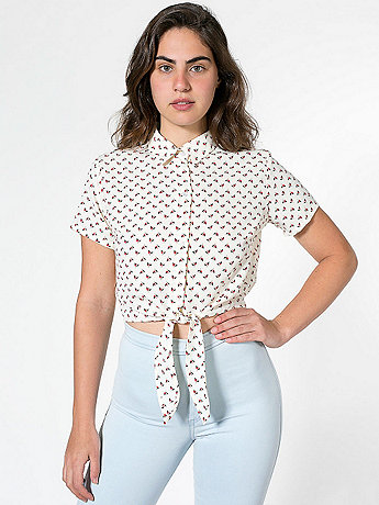 Floral Mid-Length Tie-Up Blouse