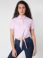 Oxford Mid-Length Tie-Up Blouse
