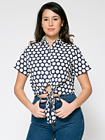Polka Dot Mid-Length Tie-Up Blouse