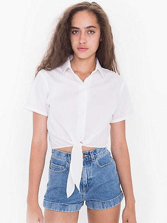 Poplin Mid-Length Tie-Up Blouse