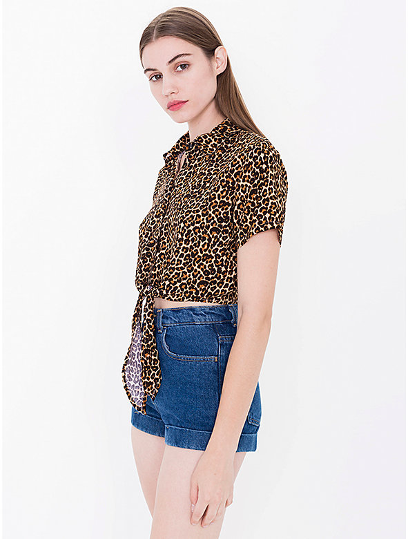 Printed Rayon Mid-Length Tie-Up Blouse