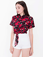 Rayon Mid-Length Tie-Up Blouse