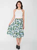 Printed Floral Mid Length Wrap Skirt