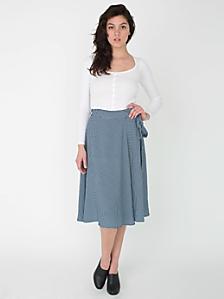 Gingham Print Mid Length Wrap Skirt