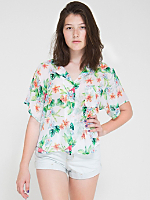 Flamingo Print Short Sleeve Boxy Blouse