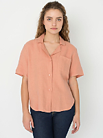 Short Sleeve Linen Boxy Blouse