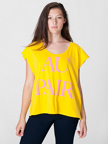 Screen Printed Loose Cut-Off Shirt - Au Pair