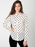 Flock Polka Dot Basic Button Up Blouse