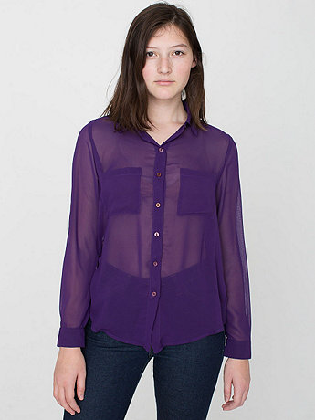 Chiffon Basic Button Up Blouse