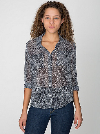 Ink Spot Printed Polyester Basic Button Up Blouse