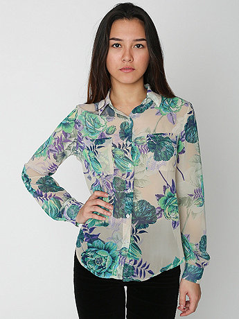 Floral Print Polyester Basic Button Up Blouse