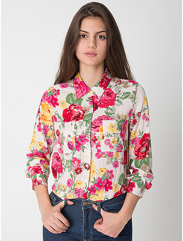 Floral Print Basic Rayon Button Up Blouse