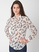 Printed Polyester Basic Button Up Blouse